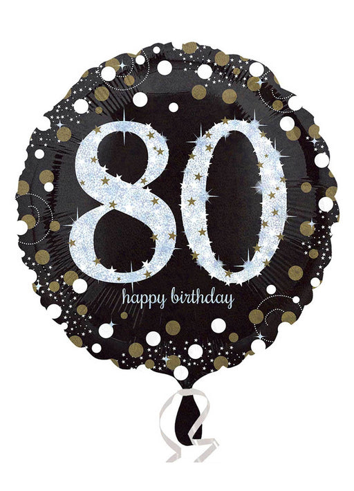 Gold Sparkle 80th Birthday Balloon