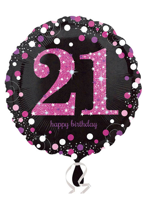 Pink Sparkle 21st Birthday Balloon