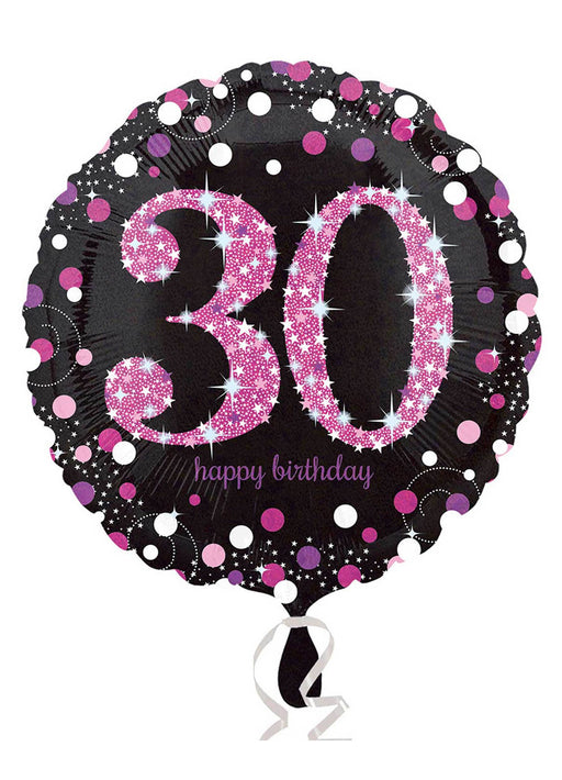 Pink Sparkle 30th Birthday Balloon