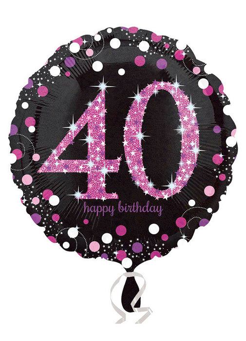 Pink Sparkle 40th Birthday Balloon