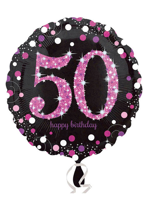 Pink Sparkle 50th Birthday Balloon