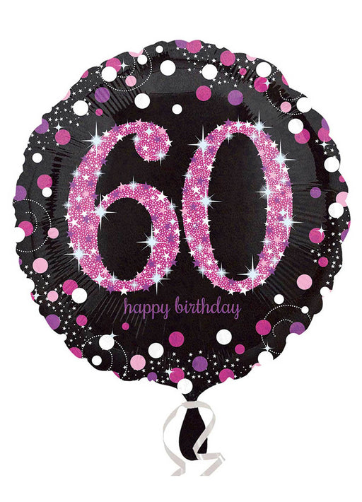 Pink Sparkle 60th Birthday Balloon