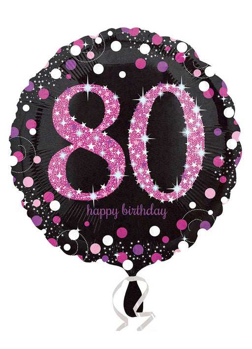 Pink Sparkle 80th Birthday Balloon