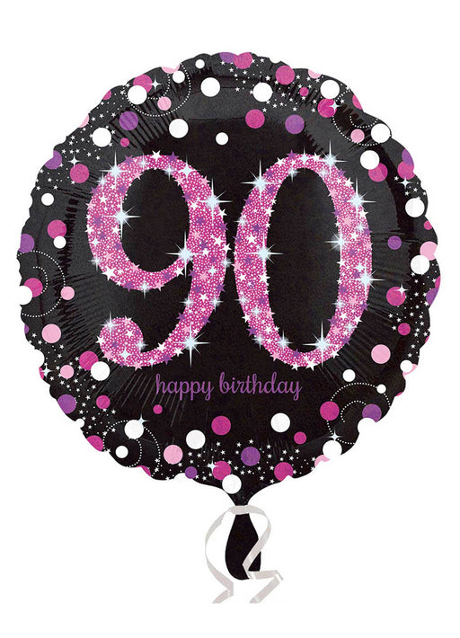 Pink Sparkle 90th Birthday Balloon