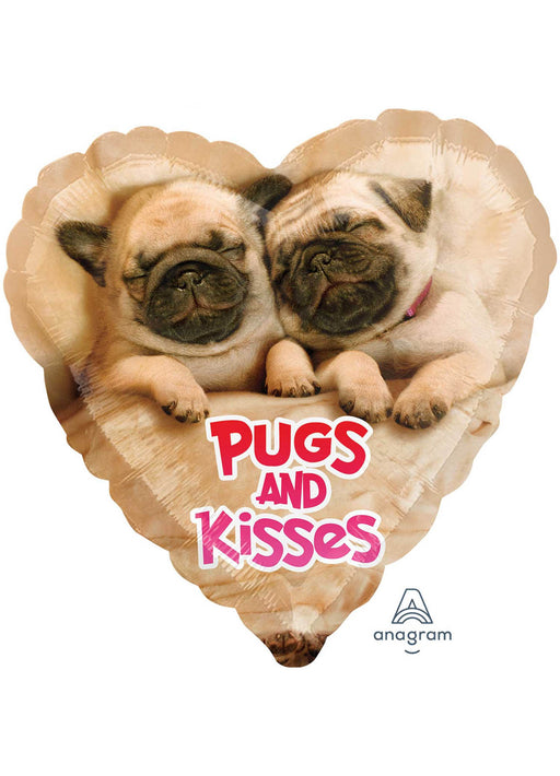 Pugs & Kisses Valentine's Foil Balloon