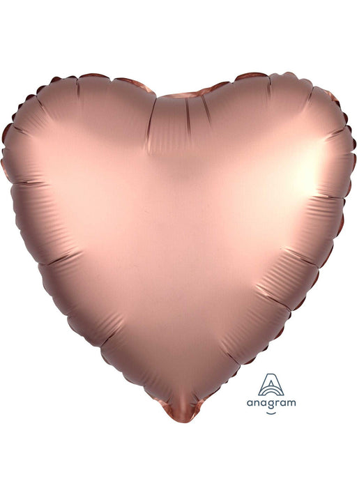 Satin Rose Copper Heart Foil Balloon