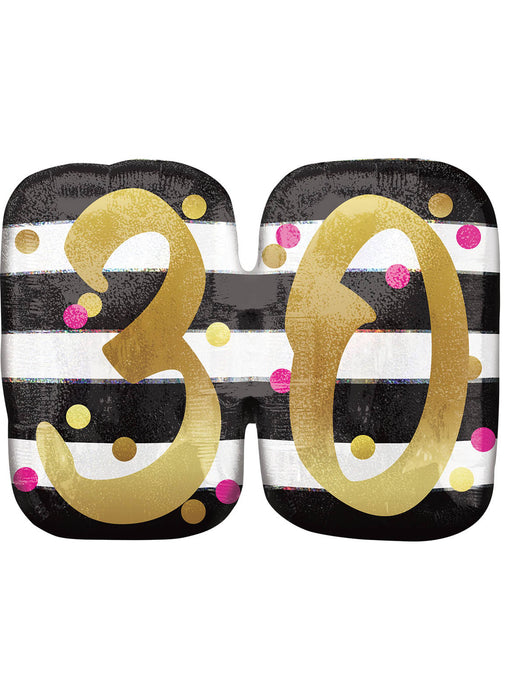Pink & Gold Age 30 SuperShape Balloon