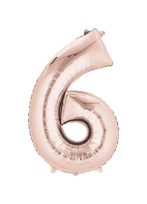 Number 6 Rose Gold Air Filled Balloon