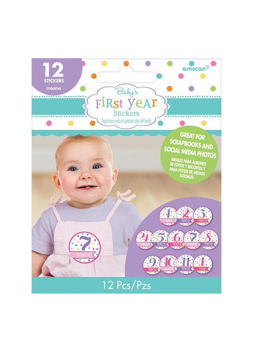Pink Baby's First Year Stickers