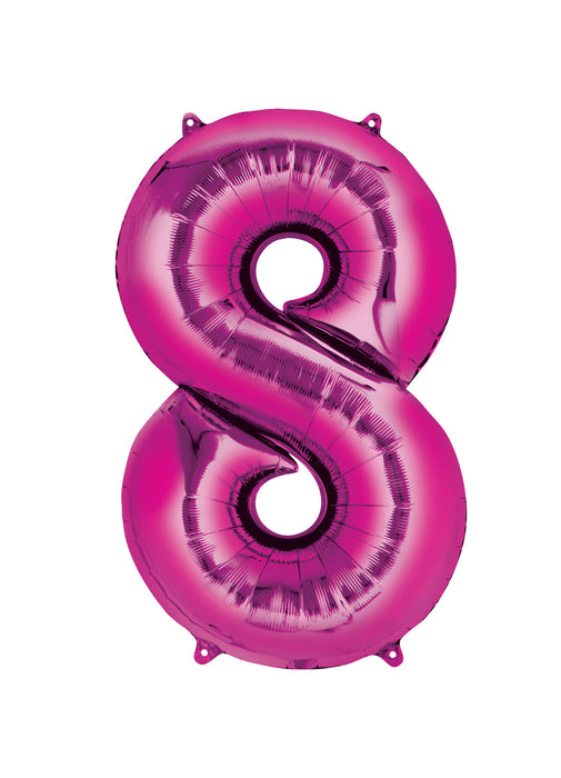 Number 8 Pink Air Filled Balloon