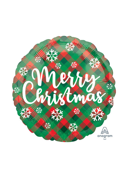 Green & Red Plaid Christmas Balloon