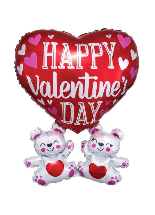 Floating Bears Happy Valentine's SuperShape Balloon