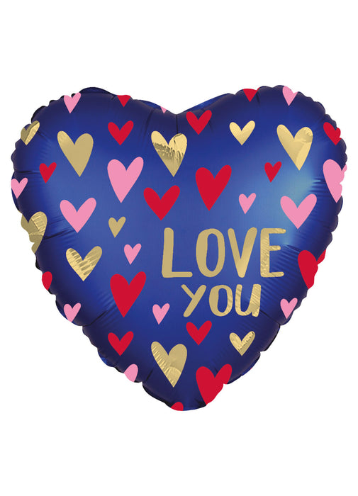 Satin Navy & Gold Love Valentine's Foil Balloon