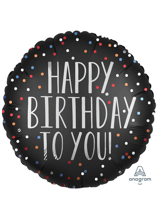 Happy Birthday Satin Dots Foil Balloon