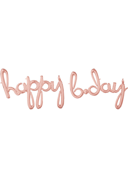 Happy Birthday Rose Gold Script Balloon