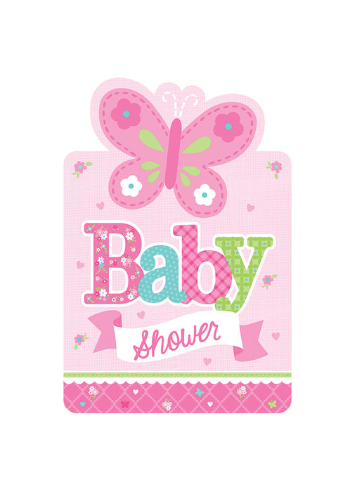 Welcome Baby Girl Invitations 8pk