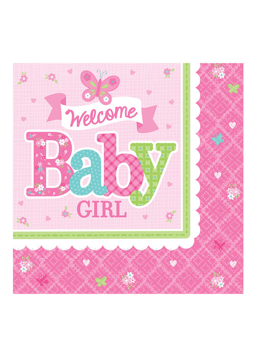 Welcome Baby Girl Napkins 16pk