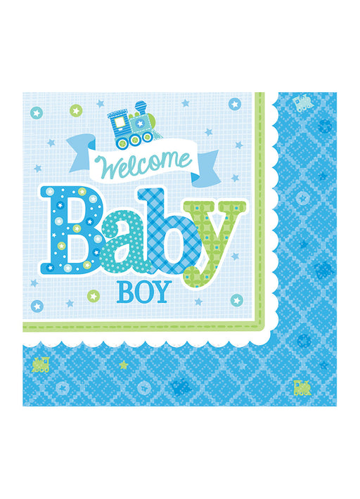 Welcome Baby Boy Napkins 16pk
