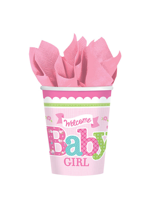 Welcome Baby Girl Cups 8pk