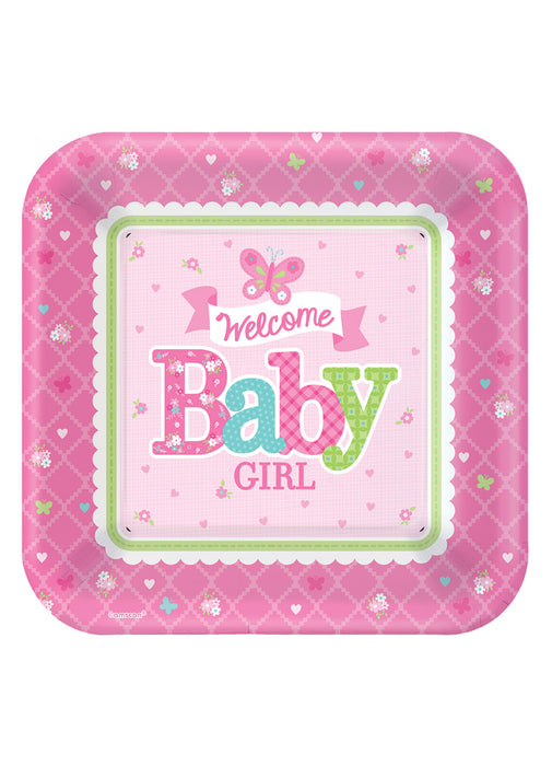 Welcome Baby Girl Plates 8pk