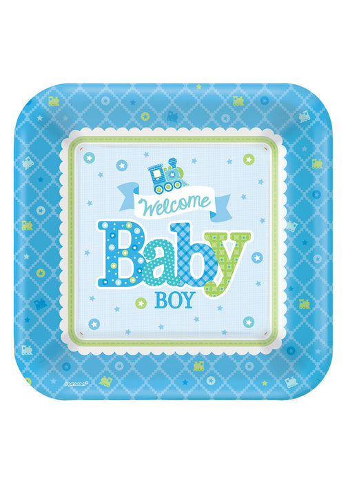 Welcome Baby Boy Plates 8pk