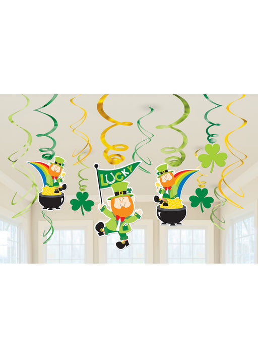 St Patrick's Day Swirl Decorations 12pk