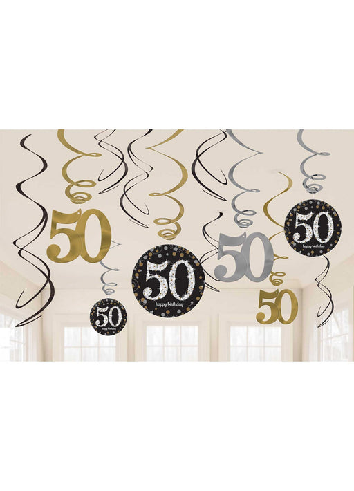 Gold Celebration 50th Swirl Decorations