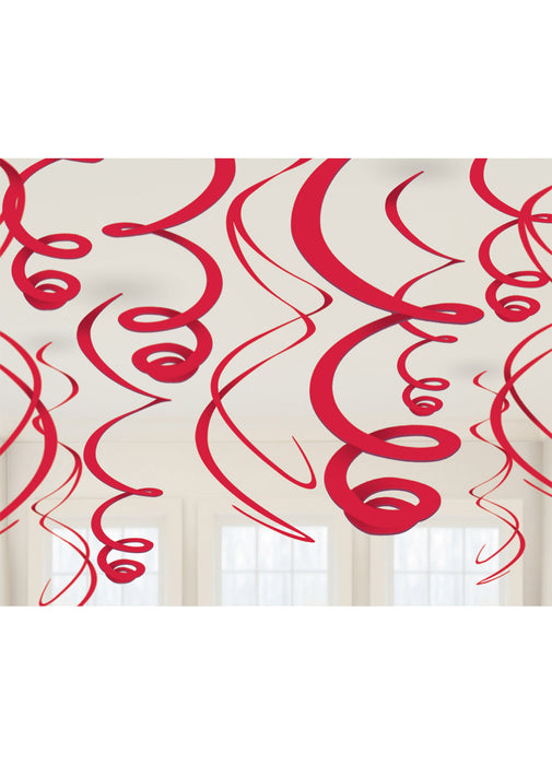 Red Swirl Decorations 12pk