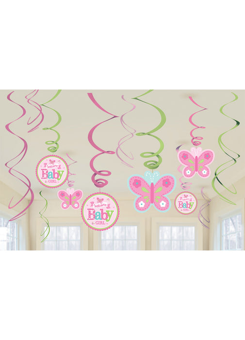 Welcome Baby Girl Swirl Decorations 12pk