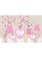 With Love Girl Swirl Decorations 12pk