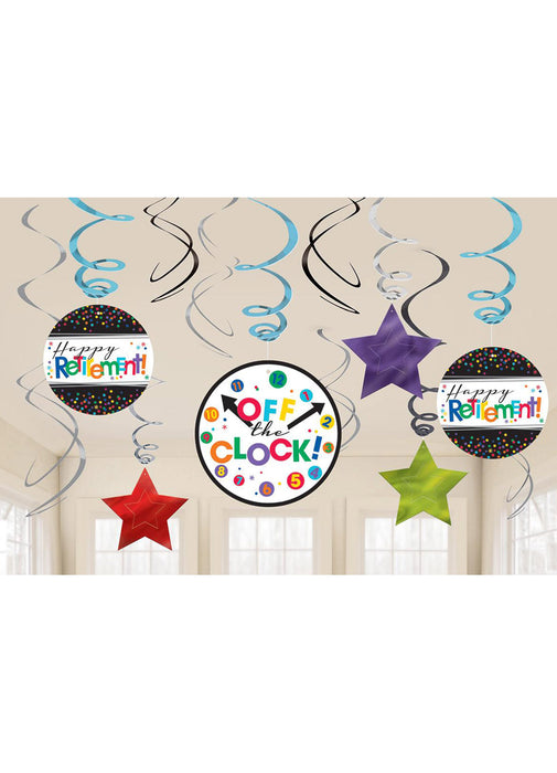 Retirement Party Swirl Decorations 12pk