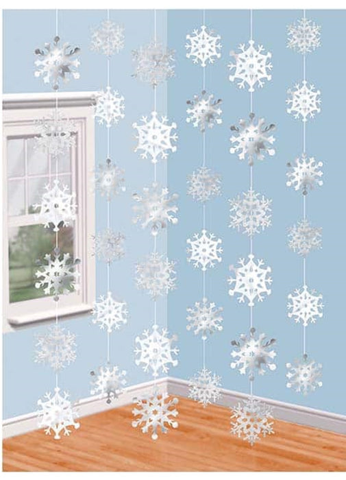Snowflake String Decorations 6pk