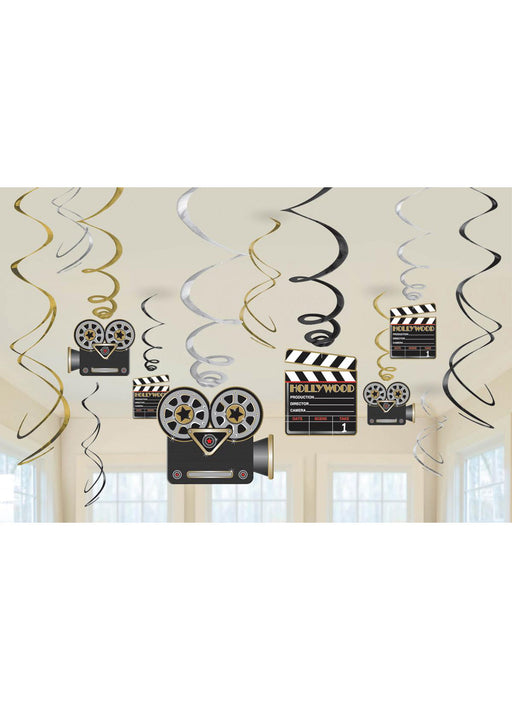 Hollywood Swirl Decorations 12pk