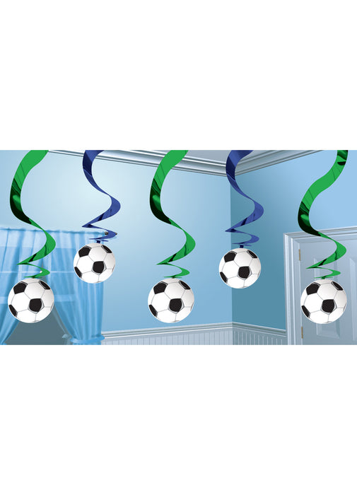 Football Party Swirl Decorations 5pk