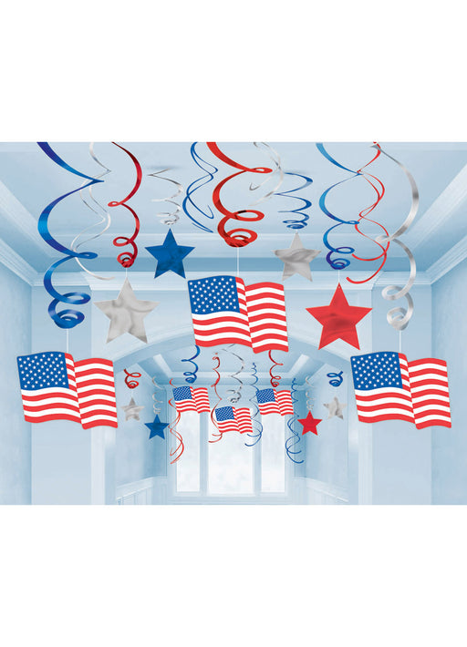American Flag Swirl Decorations 30pk