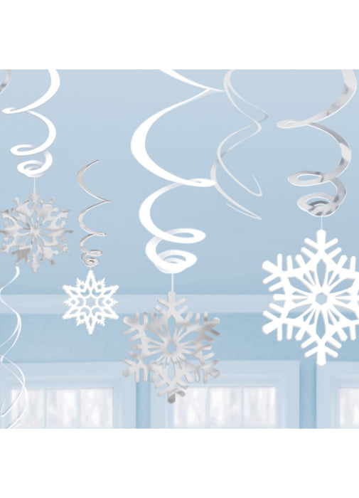 Snowflake Swirl Decorations 12pk