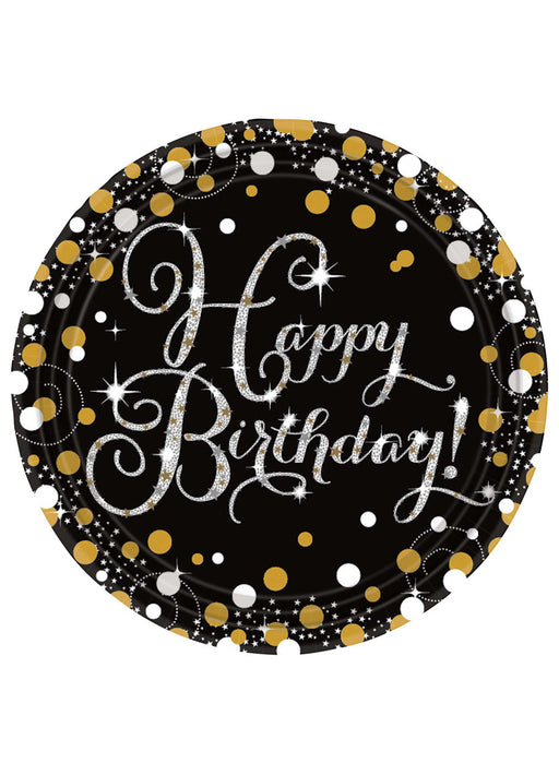 Gold Celebration Birthday Plates 8pk