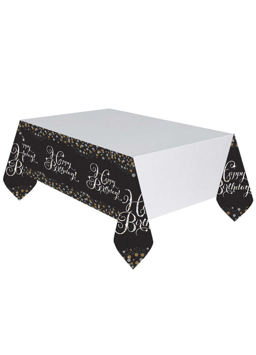 Gold Celebration Happy Birthday Tablecover
