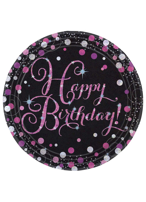 Pink Celebration Birthday Plates