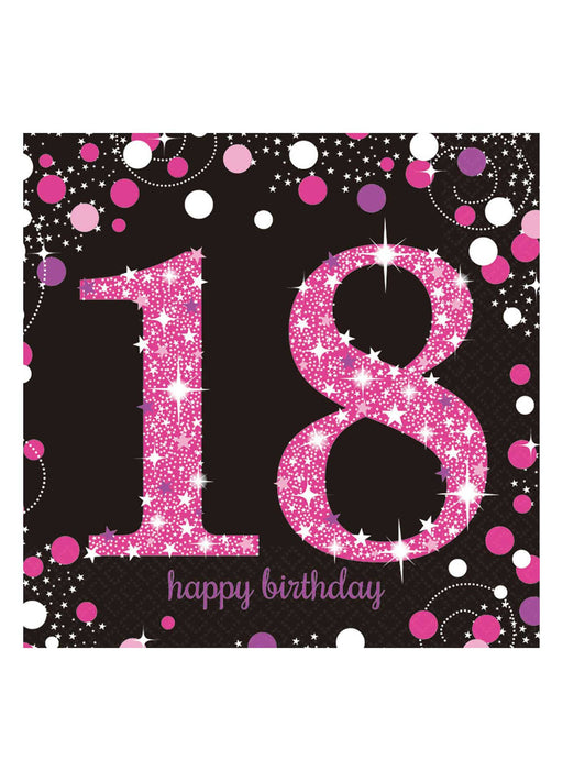 Pink Celebration 18th Birthday Napkins
