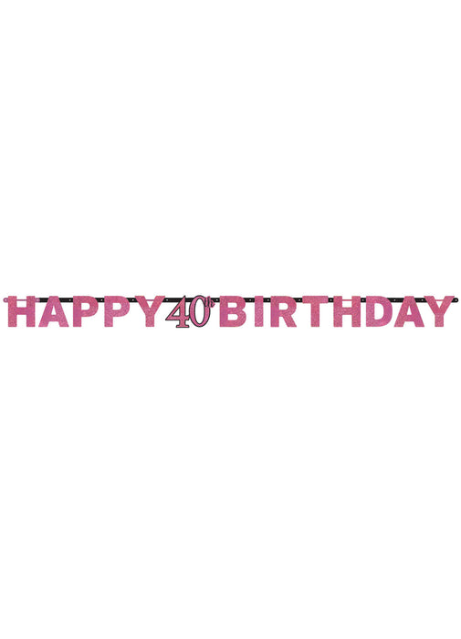 Pink Celebration 40th Birthday Letter Banner
