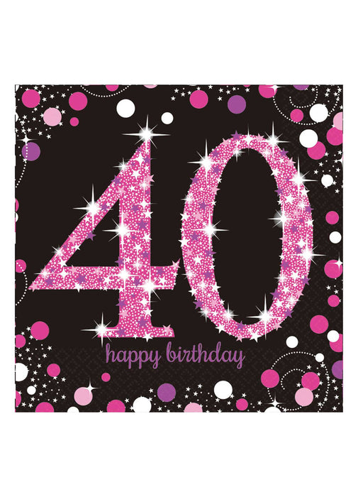 Pink Celebration 40th Birthday Napkins