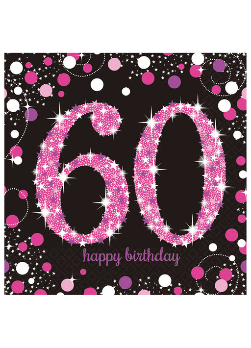 Pink Celebration 60th Birthday Napkins