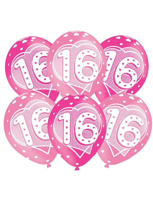 Happy 16th Birthday Pink Latex Balloons 6pk