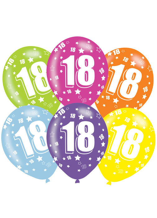Happy 18th Birthday Latex Balloons 6pk