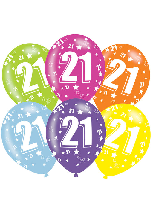 Happy 21st Birthday Latex Balloons 6pk