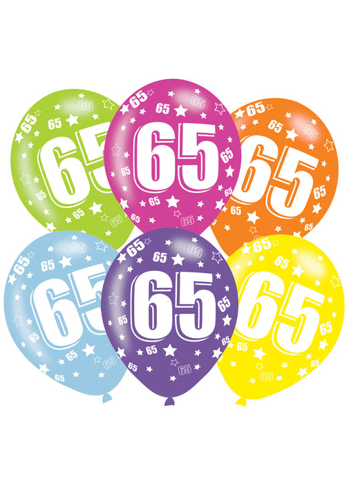 Happy 65th Birthday Latex Balloons 6pk Party Britain
