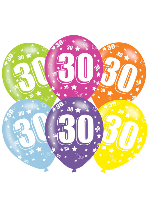 Happy 30th Birthday Latex Balloons 6pk
