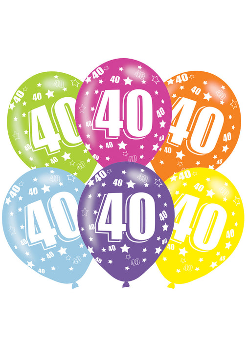 Happy 40th Birthday Latex Balloons 6pk Party Britain