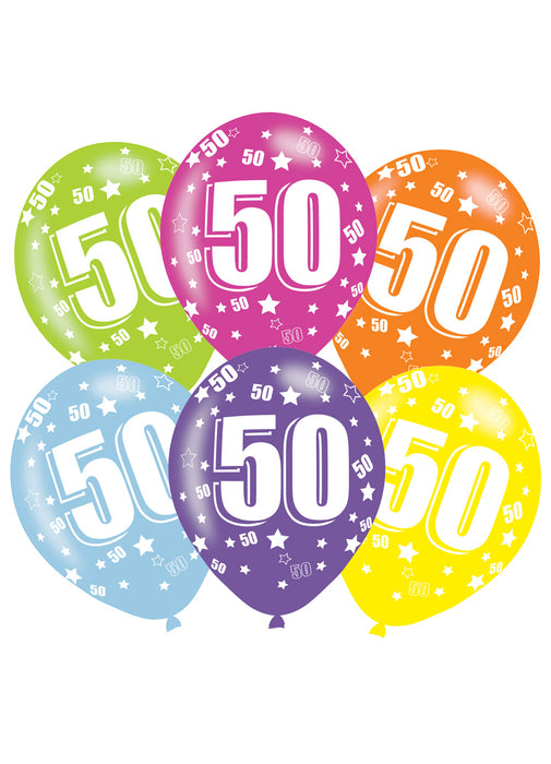 Happy 50th Birthday Latex Balloons 6pk